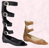 Shellys black knee length and high tan ankle Gladiator open strap wrap shoes from their Summer 2008 Collection.